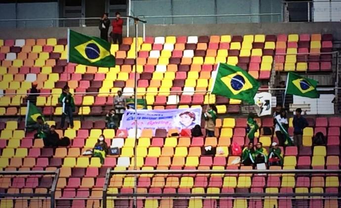 Torcida brasileira marcou presença na China (Foto: Divulgação/Williams)