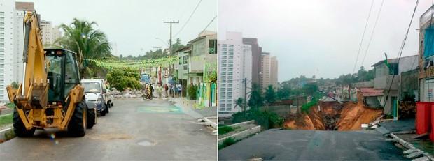 Rua Guanarabara, em Mãe Luíza, antes e depois do deslizamento de terra (Foto: Reprodução/Inter TV Cabugi e Heloisa Guimarães/Inter TV Cabugi)