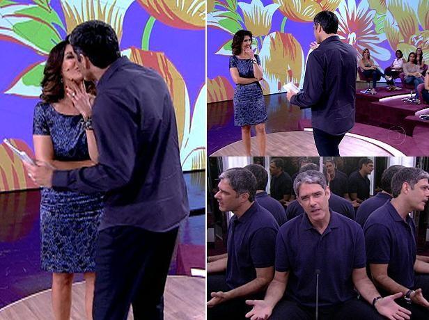 No dia do aniversário de Fátima, Bonner surpreende a mulher no palco  (Foto: Encontro / TV Globo)