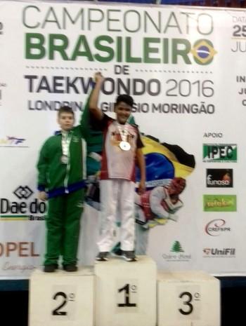 Eugênio Melo, de 11 anos, foi campeão brasileiro infantil de taekwondo (Foto: Divulgação/Feteac)