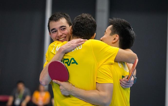 Hugo Calderanom Thiago Monteiro e Gustavo Tsubo tênis de mesa pan-americano 2015 (Foto: Jonne Roriz/Exemplus/COB)
