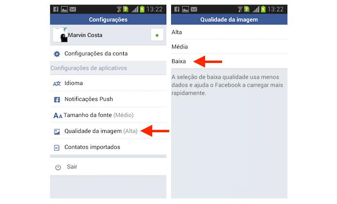 Reduzindo a qualidade das imagens do Facebook Lite para Android (Foto: Reprodução/Marvin Costa)