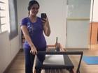 Grávida, Thais Fersoza faz aula de pilates: 'Cuidando de nós duas'