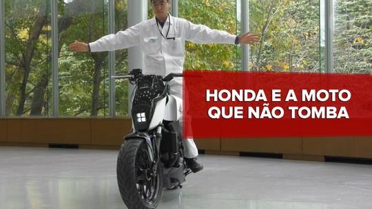 Honda mostra conceito de moto que fica de pé, mesmo sem apoio