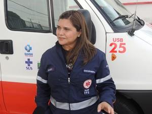 Sílvia trabalha no Samu Metropolitano há nove anos (Foto: Felipe Gibson/G1)