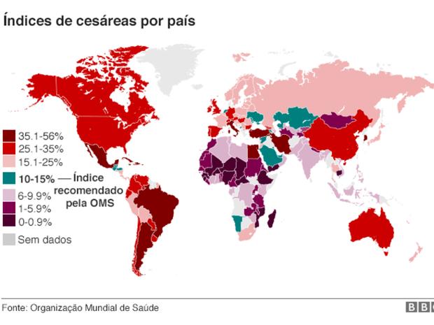 Índice de cesáreas por país (Foto: Arte/BBC)