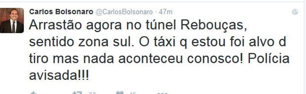 Vereador Carlos Bolsonaro estava em táxi atingindo por tiros no Rebouças (Foto: Reprodução/Twitter)