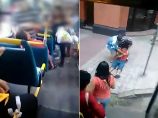 Jovem foi auxiliado por passageiros após ser alvejado (Foto: Reprodução/RBS TV)