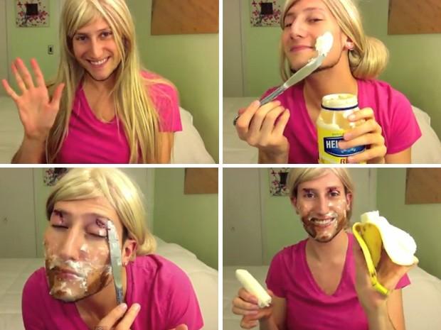 """Tutorial bizarro usa ingredientes da cozinha para fazer """"maquiagem"""". (Foto: Reprodução)"""