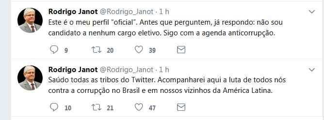 Primeiras publicações de Rodrigo Janot no Twitter (Foto: Reprodução)