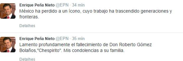 Mensagem do presidente mexicano no twítter sobre a morte de Bolanños (Foto: Reprodução/ Twitter)
