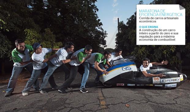 EFICIÊNCIA Alunos do professor Demetrio Zachariadis,  na Escola Politécnica  da USP. Eles construíram um carro que rodou  160 quilômetros com  1 litro de gasolina (Foto: Rogério Cassimiro/ÉPOCA )