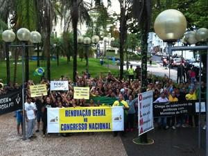 Protesto em Uberaba (Foto: Alex Rocha/G1)