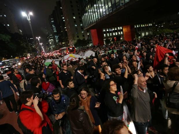 Protesto contra o presidente do Brasil, Michel Temer na região da Avenida Paulista, em São Paulo (SP), nesta quarta-feira (31) (Foto: N.M/Futura Press/Estadão Conteúdo)