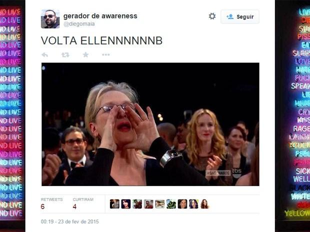 Piada com Meryl Streep cita a apresentadora do Oscar 2014, Ellen DeGeneres (Foto: Reprodução/Twitter/diegomaia)