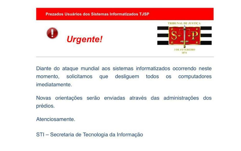 Mega-ciberataque derruba sistemas de comunicação ao redor do mundo Tjsp1