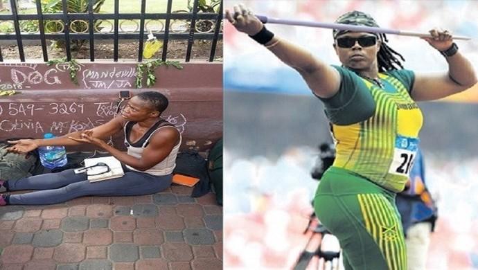 Olivia McKoy, representante da Jamaica em duas Olimpíadas, é vista nas ruas pedindo esmola - atletismo (Foto: Reprodução)