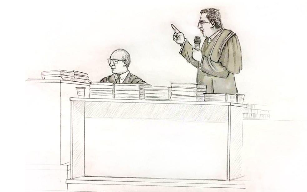 Ilsutração mostra momento em que advogados discutem durante julgamento de Elize (Foto: Roberta Jaworski/Editoria de Arte/G1)