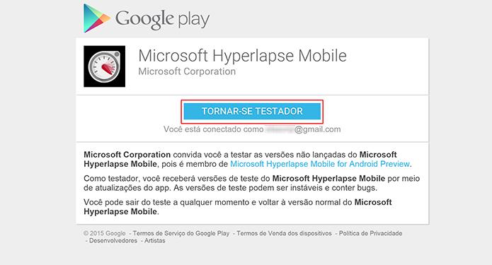 Hyperlapse Mobile precisa que usuário se cadastre como testador para baixar app (Foto: Reprodução/Elson de Souza)