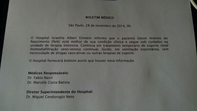 Boletim Médico Pelé 9h (Foto: Divulgação)