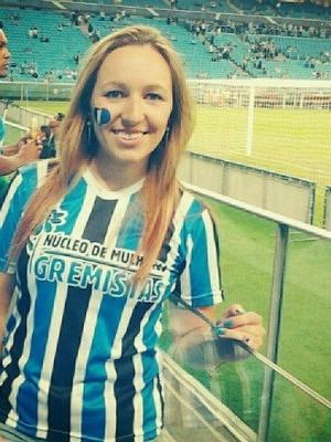 Poliana na nova Arena do Grêmio (Foto: Arquivo Pessoal)