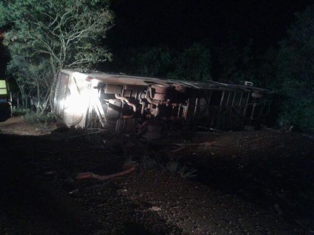 Ônibus tombou depois de bater de frente com carro (Foto: Corpo de Bombeiros/Divulgação)