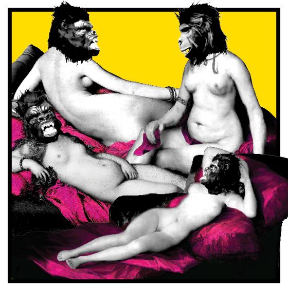 MANDA MAIS  QUE NUDES Montagem que mescla obras clássicas com as máscaras usadas pelas Guerrilla Girls. Elas questionam a misoginia no mundo da arte (Foto: Cristina Kashima)