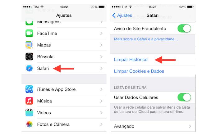 Acessando a ferramenta de limpeza do histórico do Safari do iPhone (Foto: Reprodução/Marvin Costa) (Foto: Acessando a ferramenta de limpeza do histórico do Safari do iPhone (Foto: Reprodução/Marvin Costa))