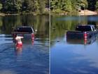 Sozinho, cão desengata caminhonete e vai parar dentro de lago nos EUA