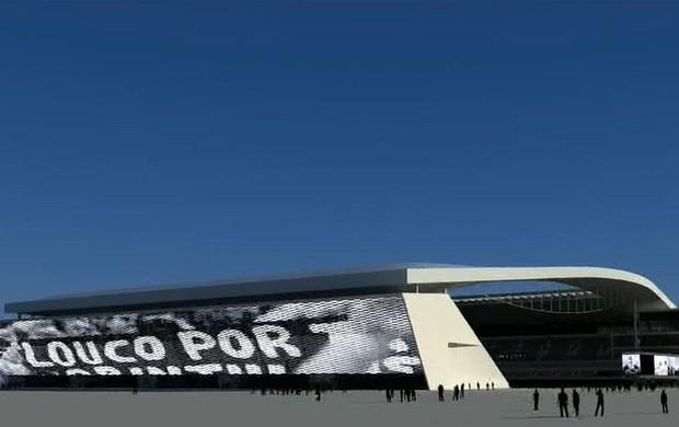 Imagens do projeto do telão na Arena Corinthians (Foto: Reprodução)