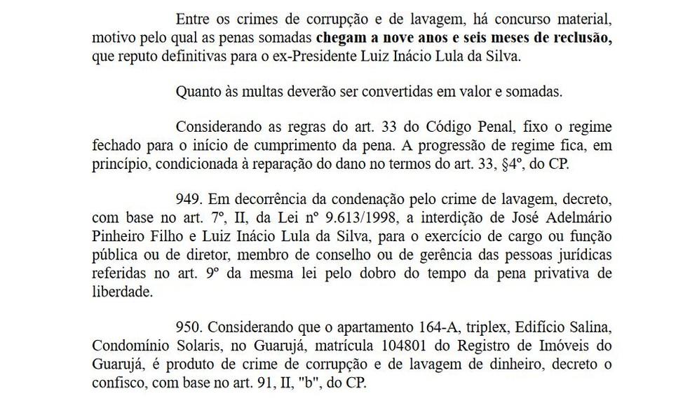 Trecho em que Moro define a sentença de Lula (Foto: Reprodução)