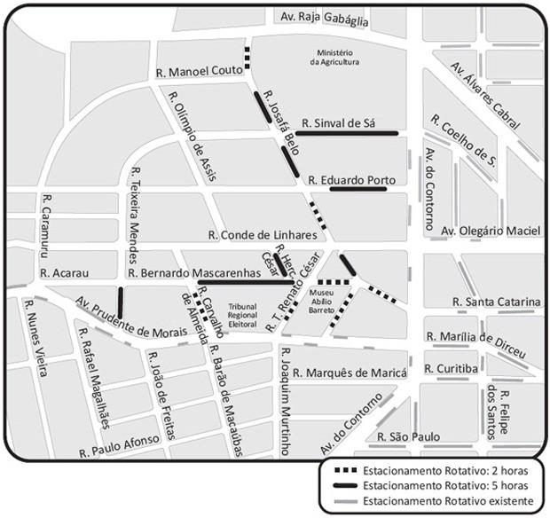 BHtrans cria vagas de estacionamento no bairro Cidade Jardim, na Região Centro-Sul da capital mineira. (Foto: Reprodução/BHTrans)