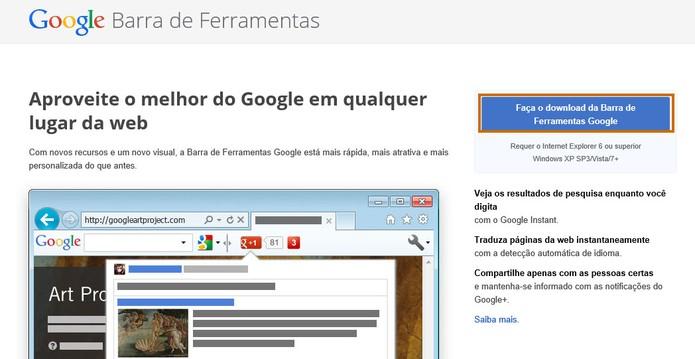 Inicie o download da Barra de Ferramentas do Google (Foto: Reprodução/Barbara Mannara)