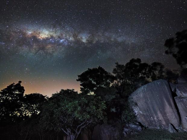 Via Láctea a partir do céu de Campinas (Foto: Arquivo Pessoal/ Rafael Defavari)