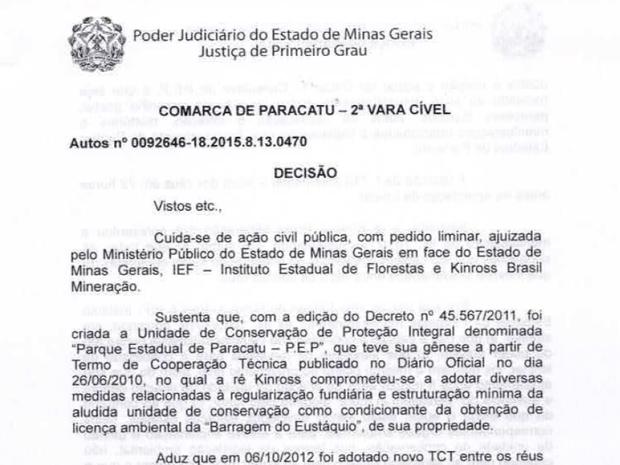 Parque Estadual de Paracatu decisão liminar (Foto: Reprodução/TJMG)