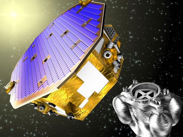 Imagem gráfica do satélite LISA Pathfinder e do módulo propulsor. Satélite vai buscar ondas gravitacionais no espaço. (Foto: Agência Espacial Europeia)