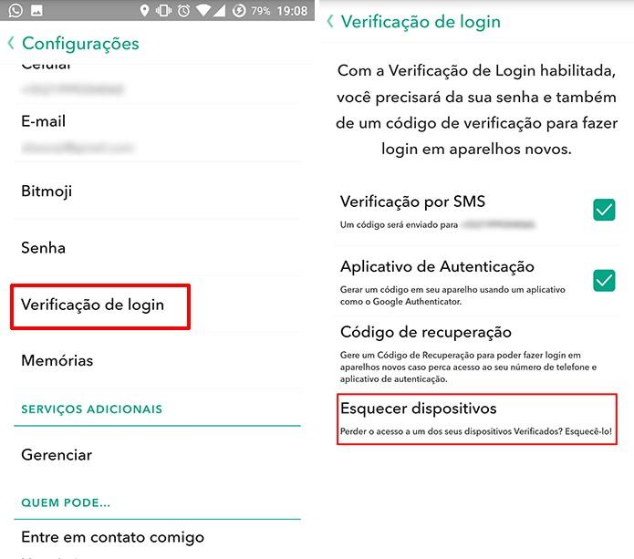 Snapchat mostra lista de dispositivos confiáveis no menu Esquecer dispositivos (Foto: Reprodução/Elson de Souza)