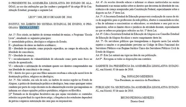 Texto da Lei publicado no Diário Oficial desta segunda-feira (9) (Foto: Reprodução/ Diário Oficial)