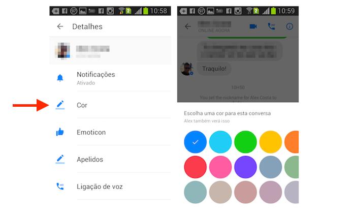 Alterando a cor de um chat do Facebook Messenger no Android (Foto: Reprodução/Marvin Costa)