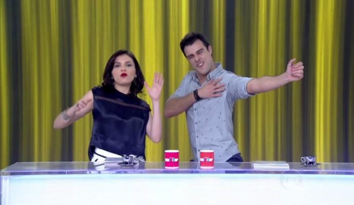 Monica Iozzi e Joaquim Lopes dançam funk no Vídeo Show (Foto: TV Globo)