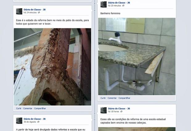 No Facebook, aluna do ES reclama de atrasos na reforma da escola estadual e salas de aula improvisadas e com mau cheiro (Foto: Reprodução)