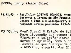 Reprodução da ficha do rabino Henry Sobel no órgão (Foto: Reprodução)