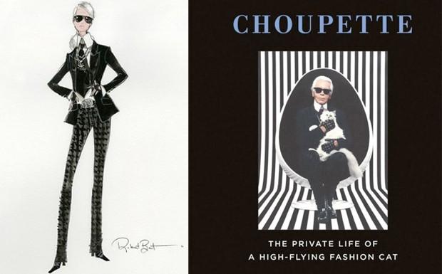 A Barbie Lagerfeld e o livro de dicas da gatinha Choupette. (Foto: Divulgao)