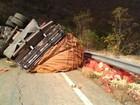 Caminhão carregado de cebolas tomba na BA-148 e deixa trânsito lento
