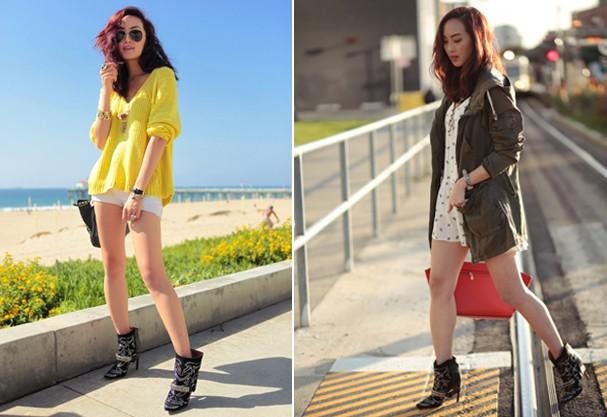 A blogueira Chriselle Lim em dois looks com a bota da vez: short jeans e vestido (Foto: Reprodução)