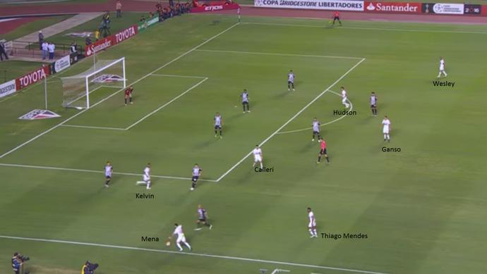 Mesmo com a posse de bola, São Paulo não conseguia agredir o Galo no campo ofensivo (Foto: GloboEsporte.com)