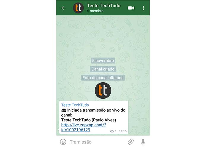 Seguidores vêem um link que leva ao vídeo ao vivo quando você está online (Foto: Reprodução/Paulo Alves)