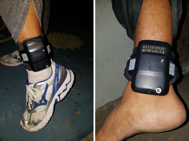 Homens com tornozeleira eletrônica foram presos no Recife (Foto: Divulgação/PM)