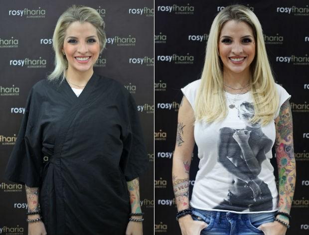 Clara Aguilar: antes e depois do alongamento capilar (Foto: Divulgação/Lótus Comunicação)