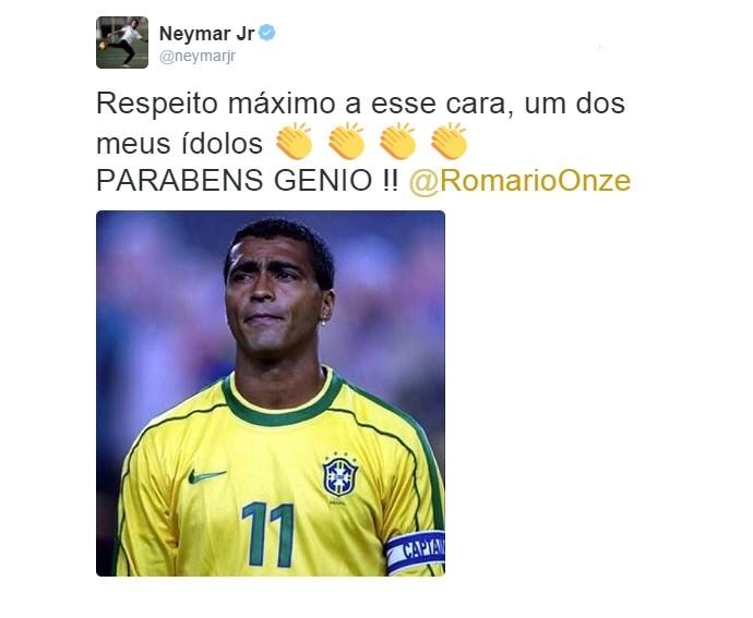 Neymar homenageia Romário